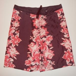 J Crew Swim Trunks Boardshorts Sz 34 Pink Floral